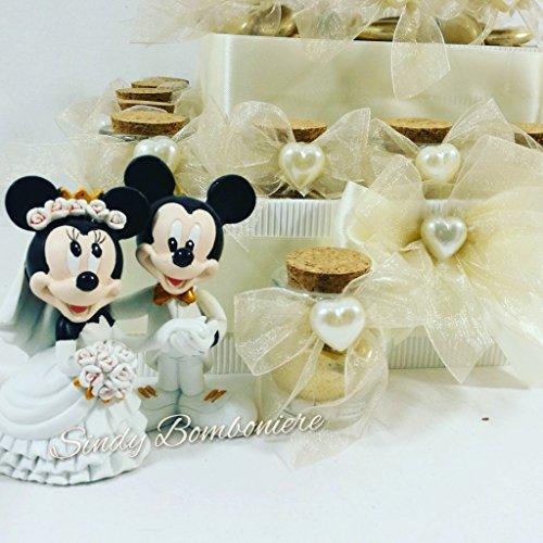 Tarta BOMBONIERA boda Novios Mickey Minnie tarro Confetti dorado aniversario
