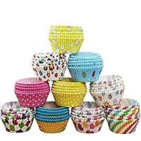 Switty 100 fundas de papel para cupcakes, magdalenas y magdalenas, para cocina, hornear, boda, fiesta, multicolor