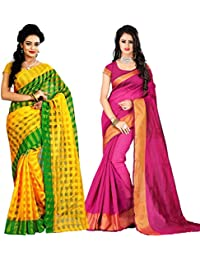 AAR VEE Plain Yellow & Pink Color Cotton & Banglori Silk Saree 2 Pc Combo