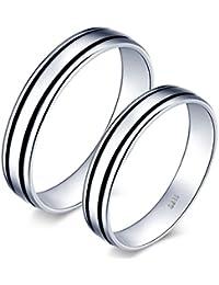 Infinite U Classic Negro Doble Rayas Plata de ley 925par/los amantes de los de banda anillo Juego de Anillos de regalo de boda promesa de compromiso aniversario, tamaño de anillo j-u