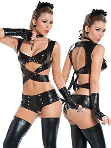 Zongsi Sexy Dessous Set Nachtclub Halter Lackleder Pole Dance Bodysuit Nachtwäsche (Dessous-ring)