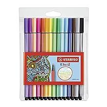 STABILO Pen 68 Felt-Tip Pen - Assorted Colours, Wallet of 15