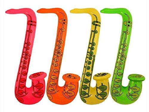 rtierte Farbe aufblasbare Saxophon 75cm Blow Up Rock & Roll Party Dekoration One Size ()