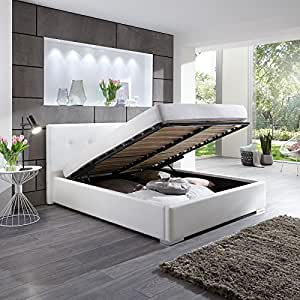 polsterbett betty kunstleder bett mit bettkasten lattenrost 160x200 weiss doppelbett. Black Bedroom Furniture Sets. Home Design Ideas