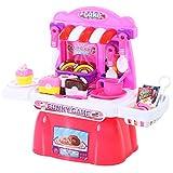HOMCOM Kinder Kuchenset Küchenspielzeug Spielküche 20 Zubehör Rosa PP 46 x 20,4 x 38,5 cm