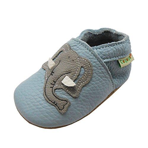 Sayoyo EchtLeder WeichesLeder Lauflernschuhe Krabbelschuhe Babyschuhe (12-18 Monate, Blau Elefant)