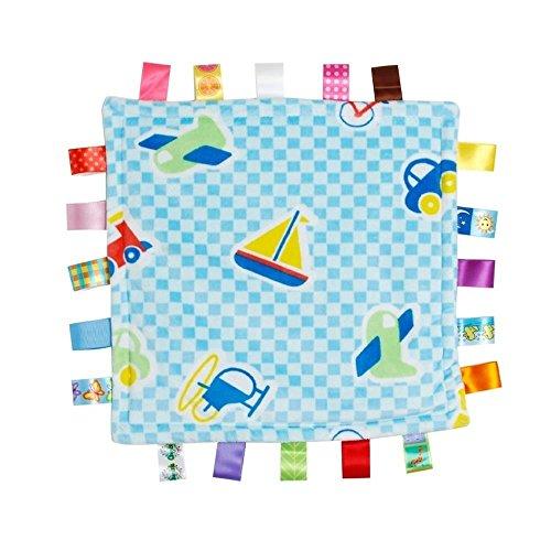 ICYANG Infant Schmusedecke,Niedliche Baby Sicherheitsdecke Einschlagdecke Handtuch,Ultra Soft Kuscheltuch Plüsch Spielzeug(11.81X11.81Zoll, Automobil- und Flugzeugmuster)