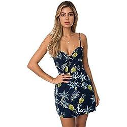 COCO clothing Vestido Halter Mujer Vestido Imprimen Chic Verano Piña Patrón Fruta Linda Vestido Corto (m)