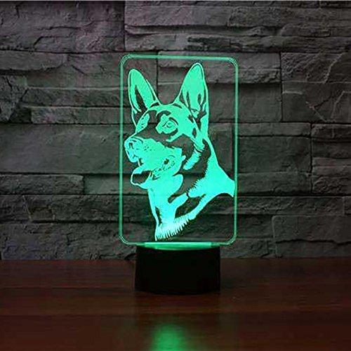 Jinson well 3D ein deutscher schäferhund Nachtlicht Lampe optische Nacht licht Illusion 7 Farbwechsel Touch Switch Tisch Schreibtisch Dekoration Lampen perfekte Weihnachtsgeschenk mit Acryl Flat ABS Base USB Kabel kreatives Spielzeug