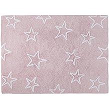 Lorena Canals Alfombra Infantil Lavable Modelo Estrellas, 122 x 160 cm, Color Rosa