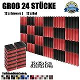 Super Dash (24 Stück) von 25 X 25 X 5 cm Schwarz & Rot Keil Akustikschaumstoff Noppenschaumstoff Akustik Dämmmatte Schallisolierung Schaumstoff Polster Fliesen SD1134 (SCHWARZ & ROT)