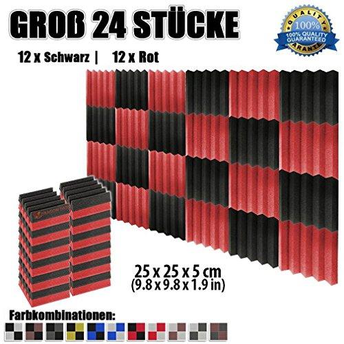 Super Dash (24 Stück) von 25 X 25 X 5 cm Schwarz & Rot Keil Akustikschaumstoff Noppenschaumstoff Akustik Dämmmatte Schallisolierung Schaumstoff Polster Fliesen SD1134 (SCHWARZ & ROT) (Zurück Dämmung)