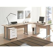 """Schreibtisch-Kombination Winkelschreibtisch Bürotisch Arbeitstisch """"Clermont I"""" Sonoma-Eiche/Weiß"""