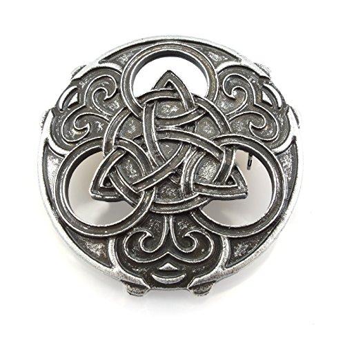 Brosche mit Triquetra und keltischen Knoten - Silber (Wikinger-münze)