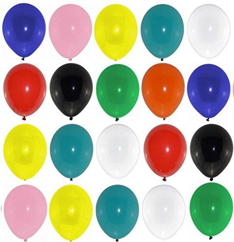 50 große Premium Luftballons bunt Markenqualität Helium Ballongas geeignet Naturlatex 100% giftfrei Geburtstagsparty Hochzeit Partyballon farbige Ballons Weihnachten Silvester Happy New Year (100 Helium Luftballons)