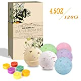 Bath Bombs Gift Set, BMK 6PCS x 4.4oz Bath Fizzies y 6 Velas Dry Flower Natural Organic Essential Oil Hecho a mano para la bañera, regalo de San Valentín
