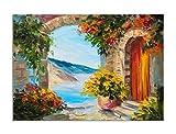 deinebilder24 Wand-Bild XXL - 70 x 90 cm - Ölgemälde Haus am Meer Bunte Blumen
