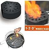 """Lot de 4 - Bloc Barbecue / Cheminée """"Miracle Blaze"""" - Allumage Instantané - Combustion Biologique - 1 bloc = 2 heures de chaleur propre"""