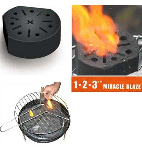 Lot de 6 - Bloc Barbecue / Cheminée 'Miracle Blaze' - Allumage Instantané - Combustion Biologique - 1 bloc = 2 heures de chaleur propre