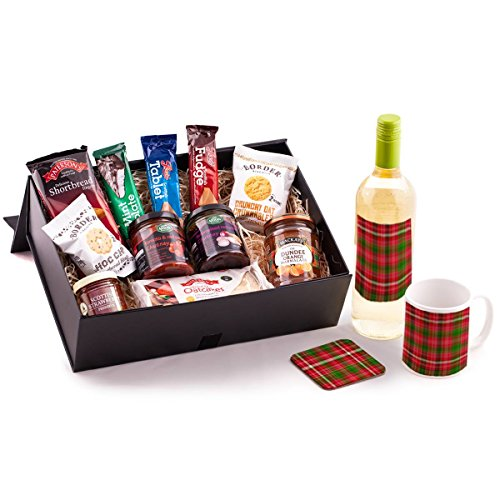 White Wine Scottish Food Hamper. Birthday, Anniversary, Engagement, Easter, Mother's day, Father's day, Valentine's day, Wedding or Christmas gift idea