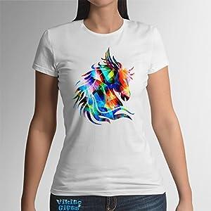 Pferd Frauen Baumwoll T-Shirt Kunst Geschenk für sie