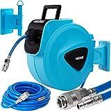 MASKO®20m Druckluftschlauch Aufroller automatisch 1/4' Anschluss - Schlauchtrommel Wandschlauchhalter Schlauchaufroller Druckluftschlauch-Aufroller Druckluftschlauch-trommel/Blau