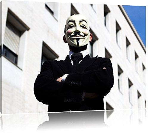 Pixxprint Anonymus Maske Format: 120x80 auf Leinwand, XXL riesige Bilder fertig gerahmt mit Keilrahmen, Kunstdruck auf Wandbild mit Rahmen, günstiger als Gemälde oder Ölbild, kein Poster oder Plakat