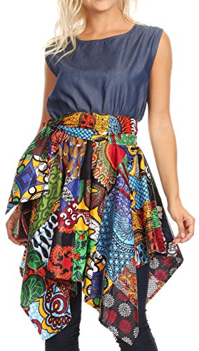 Sakkas 2196 - Lani Womens Cocktail Ärmelloses Hi-Lo Kleid in African Print mit Taschen - 412-Multi/Tribal - OS - Ladies Boatneck