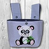 Lenkertasche Bettutensilo - viele Farben wählbar - Motiv: Panda mit Eukalyptus