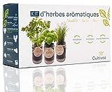 Cultivea - Kit Prêt à Pousser d'Herbes Aromatiques - Graines Françaises 100% Écologiques et Bio - Jardin potager d'intérieur - Plante (Basilic, Persil et Ciboulette) - Idée Cadeau -
