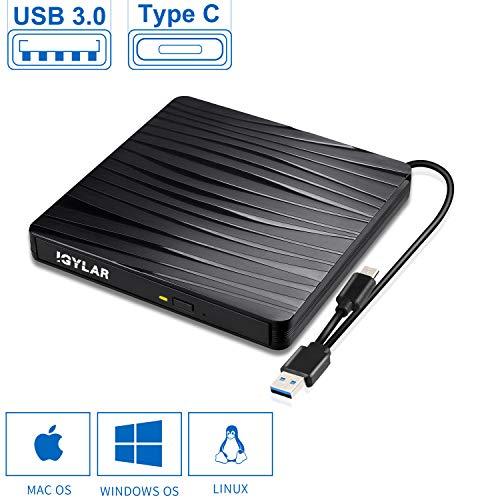 IGYLAR Externes DVD/CD Laufwerk Brenner USB 3.0 und Type-C-Schnittstelle, Slim Tragabar Externe DVD-RW DVD/CD,kompatibel mit Win10 /8.1/7/XP/Vista/Linux,Laptop,Desktop,Mac/MacBook Air/Pro/iMac/PC -