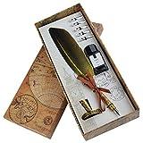 Dip Pen Lot de 5 stylos à plume en forme de calligraphie en anglais avec 5 pointes de rechange et stylet Nib Base Calligraphy pour papier à lettre