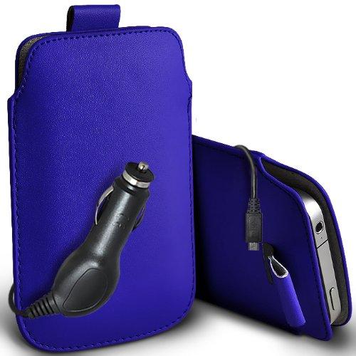 Lg Blau Case L1 Handy (ONX3 LG Optimus L1 II Tri E475 Protective PU Leder Pull Cord Schlupf in Pouch Quick Release Case & 12v Micro USB KFZ-Ladegerät (blau))