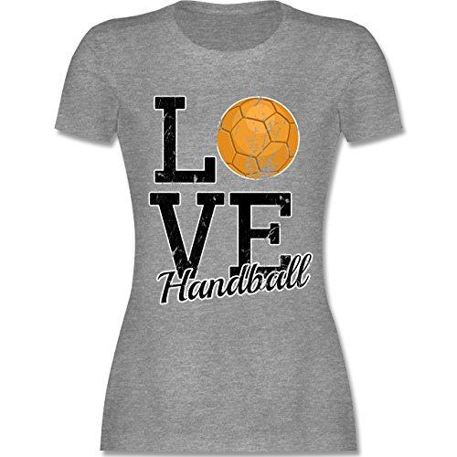 Shirtracer Handball - Love Handball - Damen T-Shirt Rundhals Grau Meliert