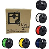 3D Printer Filament ABS 1.75mm 1kg (2.2 lbs) (Multi Color Choices - Black or White or Red Or Blue or Yellow or Green) Dimensional Accuracy /- 0.05mm. 3D Printing Filament bought to you by 3D4USE.