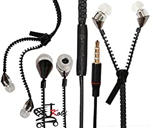 New Designed Zipper Style In Ear Bud Earphones Handsfree Compatible For Lenovo S60 -Black