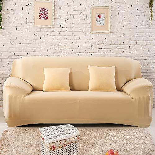 PCSACDF Schwarz Weiß Grau 1/2/3/4 Sitzer Sofabezug Wickelgummibezug für Sofas elastisch All-Inclusive Sofabezug für Sofas Bezug Schonbezüge AB 90-140 cm Creme (Sofa Schonbezug Creme)