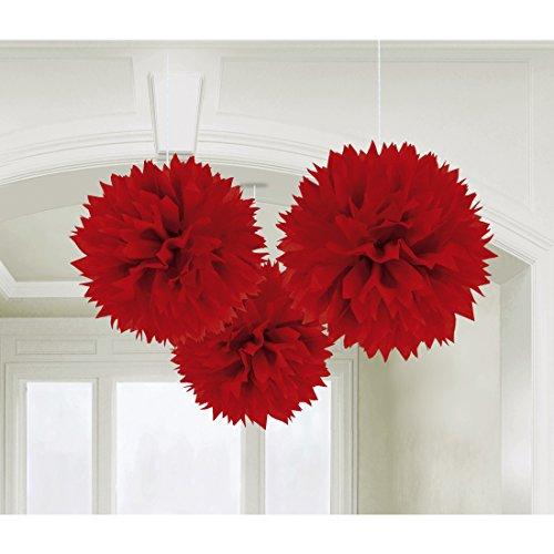 Pompons en papier de soie Kit de trois boules en papier de soir décoration de plafond rouge Balles en papier douces déco d'ambiance fête Pompon nid d'abeille à suspendre boules de fleurs
