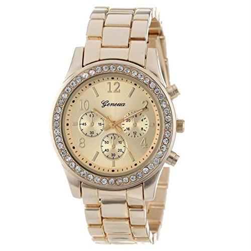 Armbanduhr Damen Uhr 2018 Xinantime Faux Chronograph Quarz überzog Classische Runde Frauen Kristall Uhr Damenuhr Golden/Silber/Rosa (Standard, Golden)