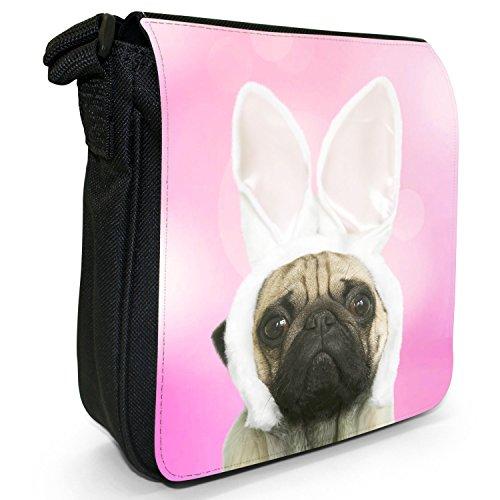 Carlino in orecchie di coniglio piccolo nero Tela Borsa a tracolla, taglia S Pink - Pug In Rabbit Ears
