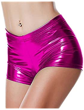 Honghu Mujeres Se?oras Shiny Sexy Mini pantal¨®n corto Hot Shorts Dance Clubwear Disco Dance Shorts