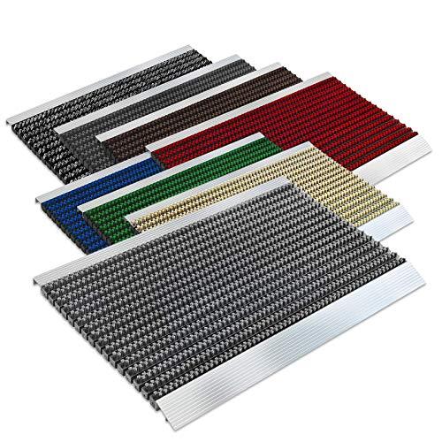 Floordirekt PRO Repräsentative Fußmatte Profi Brush - Testurteil Sehr Gut - Schmutzfangmatte mit Alu Rahmen für außen und innen - Verschiedene Bürsten Farben und Größen (50x80cm Grau)