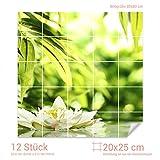 Graz Design 765356_20x25_80 Fliesenaufkleber See - Teich - Blume für Kacheln | Wand-Deko für Bad/Küchen-Fliesen (Fliesenmaß: 20x25cm (BxH)//Bild: 80x80cm (BxH))