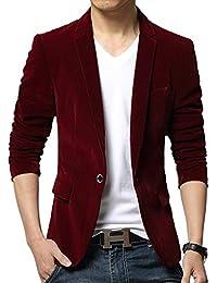 Vividda Herrensakko Business Anzug Einfarbig Freizeit Velour Blazer