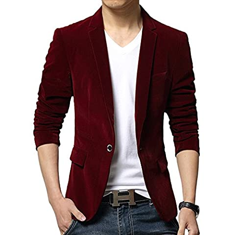 MNBS Men's Velvet Blazer Jacket Slim Fit Smart Casual Large Burgundy