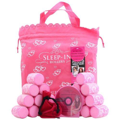 Sleep In Rollers Original Pink Confezione Regalo 20 Bigodini + Sacchetto in Velluto + Spazzola + DVD Tutorial