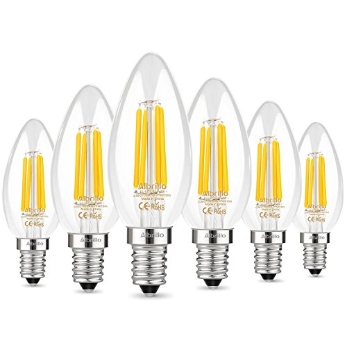Albrillo 6er Pack LED Kerze E14 Glühfaden Retrofit Classic, LED Birne als Kolbenlampe, 4W 400 Lumen, Ersetzt 40W Glühlampe, warmweiß, E14 Filament Fadenlampe