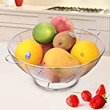 Tenta Kitchen Simplicity Collection Stainless Steel Wire Fruit Bowl/Basket/Rack/Stand/Tiered Server With Pink Removable Drip Catcher
