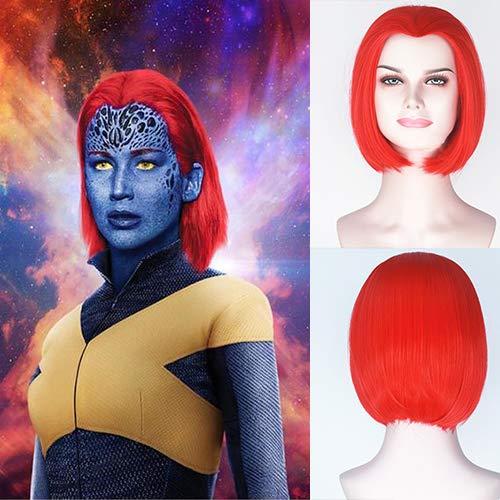 Mystiques Kostüm - Blue Bird Synthetische Kurze Bob Red Perücke der Film X-Men: Dark Phoenix Mystique Cosplay Perücken Für Frauen Kurze Gerade Heiße Rote Haare für Mädchen Cosplay Party Verwenden