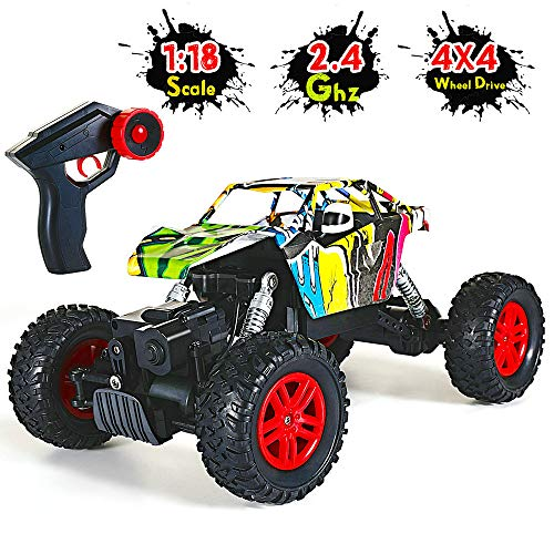 RC Auto kaufen Monstertruck Bild: GoStock Ferngesteuertes Auto Elektro Offroad RC Lastwagen 1:18 2,4 Ghz 4WD Off Road Monstertruck Rock Crawler*